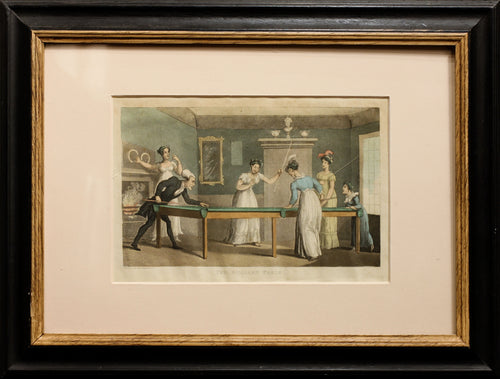 The Billiard Table - Antique Aquatint 1823