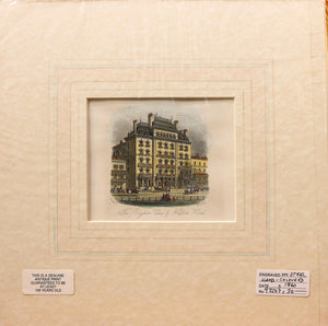 The Brighton Club and Norfolk Hotel - Antique Steel Engraving circa 1860