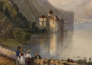 The Castle of Chillon - Antique Steel Engraving circa 1845