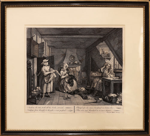 'The Distrest Poet' Copper Engraving By and After William Hogarth. 1736