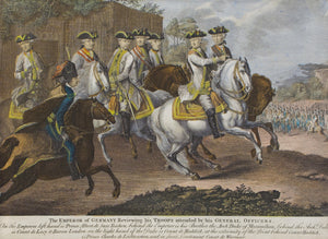 The Emperor of Germany Reviewing His Troops - Antique Copper Engraving circa 1790