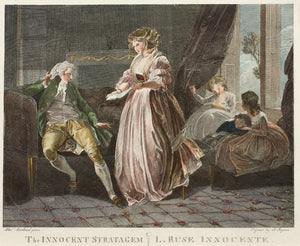 The Innocent Stratagem  La Ruse Innocente - Antique Engraving circa 1785