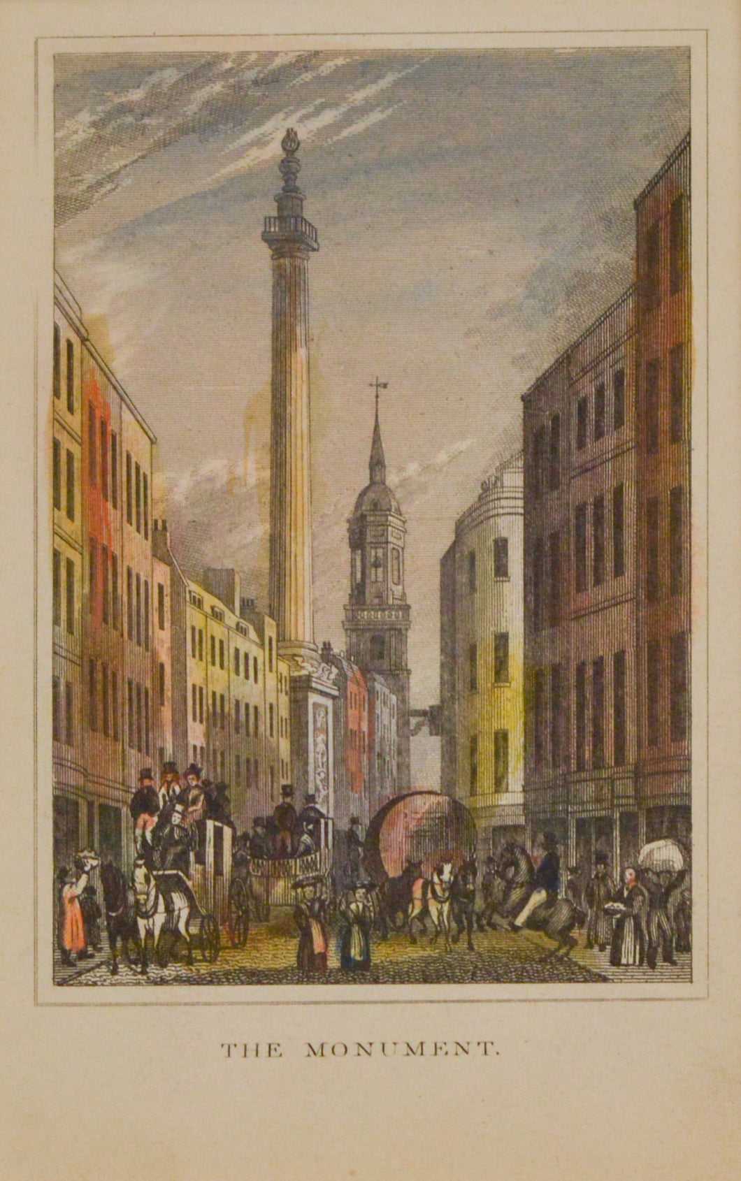 The Monument - Antique Steel Engraving circa 1828