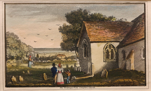 The Parsonage from Sompton Sompting Church - Antique Engraving circa 1830