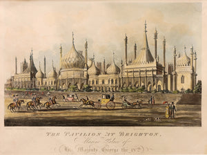 Pair of Fine Aquatint Prints. 'The West or Garden Front of the Pavilion at Brighton' and 'The East Front of the Pavilion at Brighton, the Marine Palace of HM George IV' 1824
