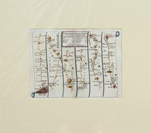Load image into Gallery viewer, The Road from London to Arundel in Sussex - Antique Ribbon Map by John Senex, circa 1757