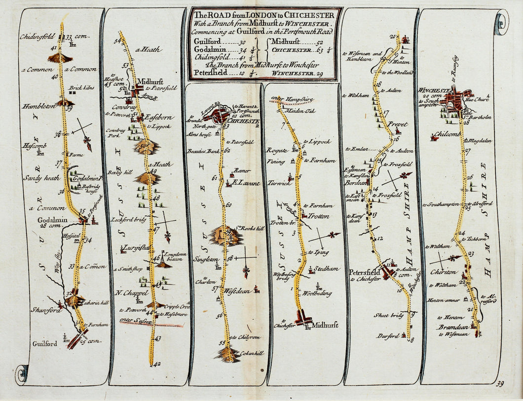 The Road from London to Chichester - Antique Ribbon Map by John Senex circa 1757