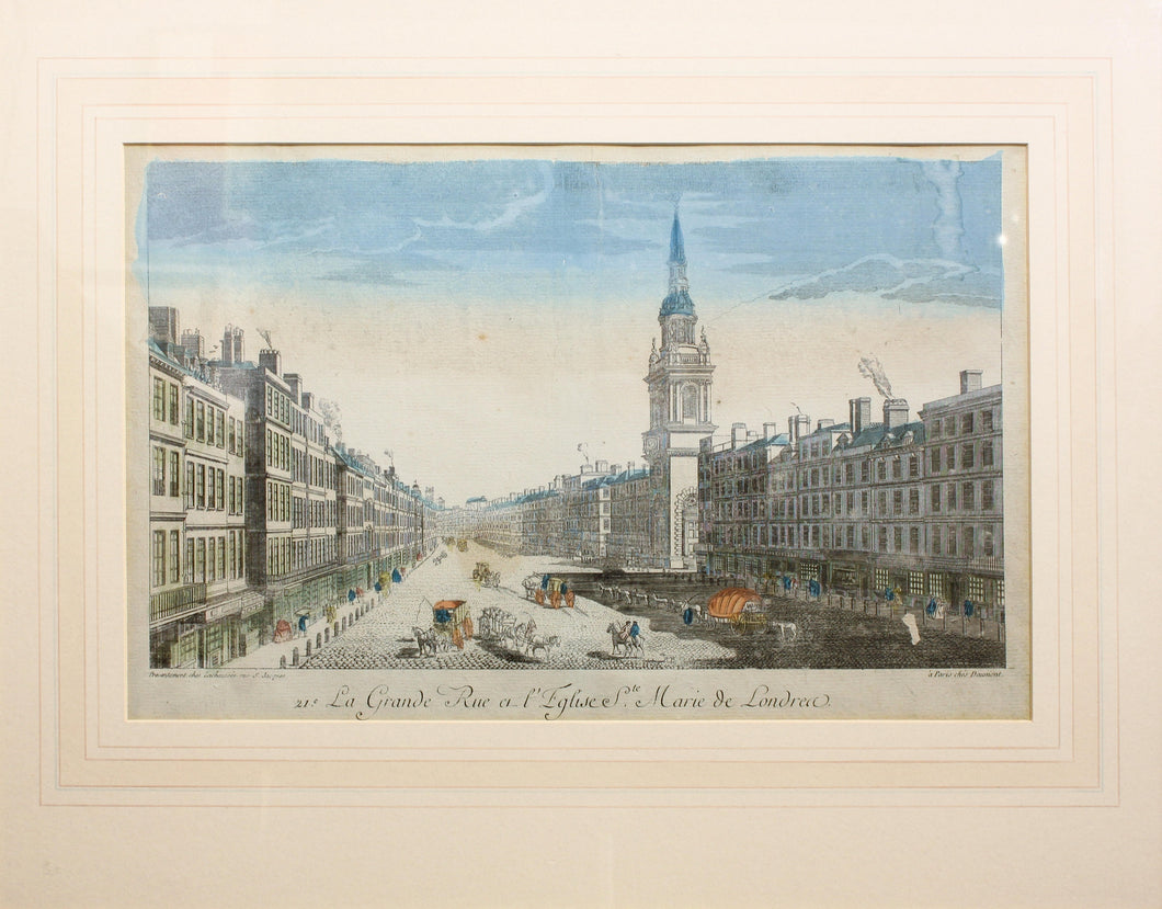 The Strand with St Marys Church, London - Antique Copper Engraving circa 1760s