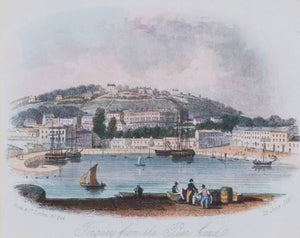 Torquay from the Pier Head - Antique Steel Engraving circa 1860