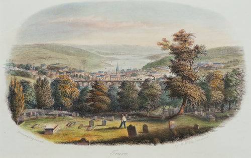 Truro from Kenwyn - Antique Steel Engraving circa 1846