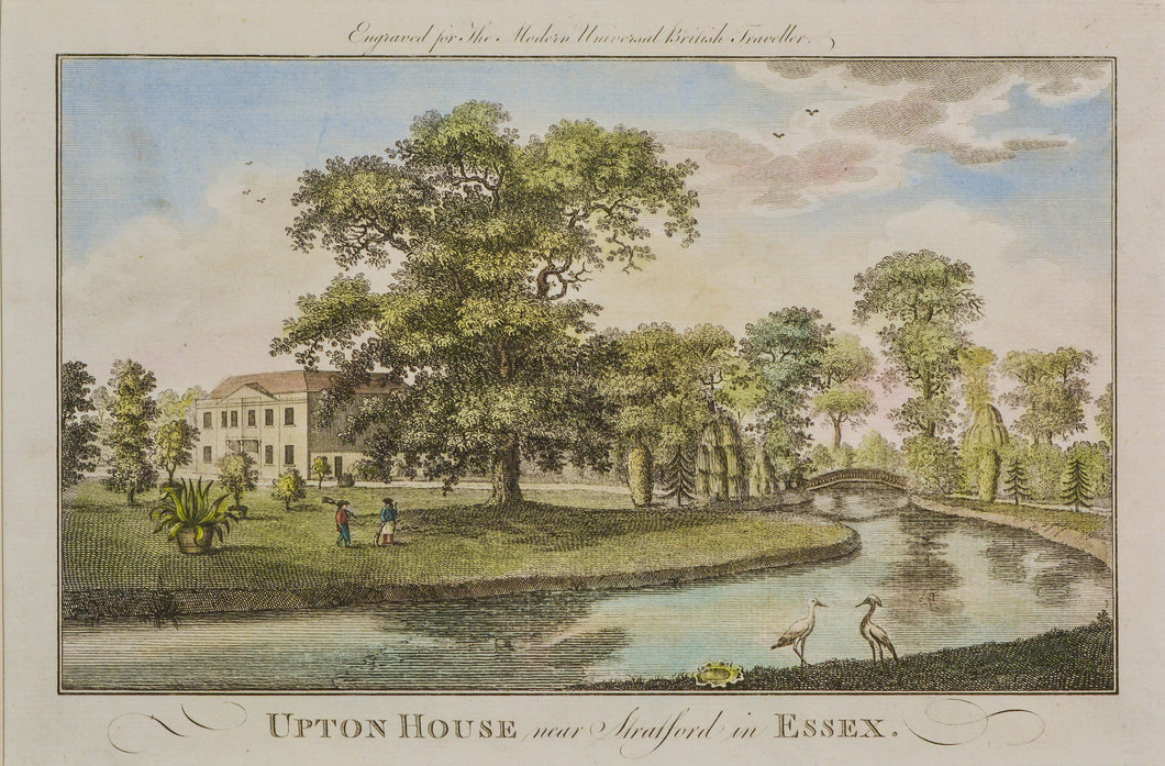 Upton House Essex - Antique Copper Engraving circa 1784