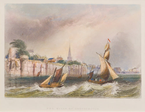 The Walls of Southampton - Antique Steel Engraving circa 1838