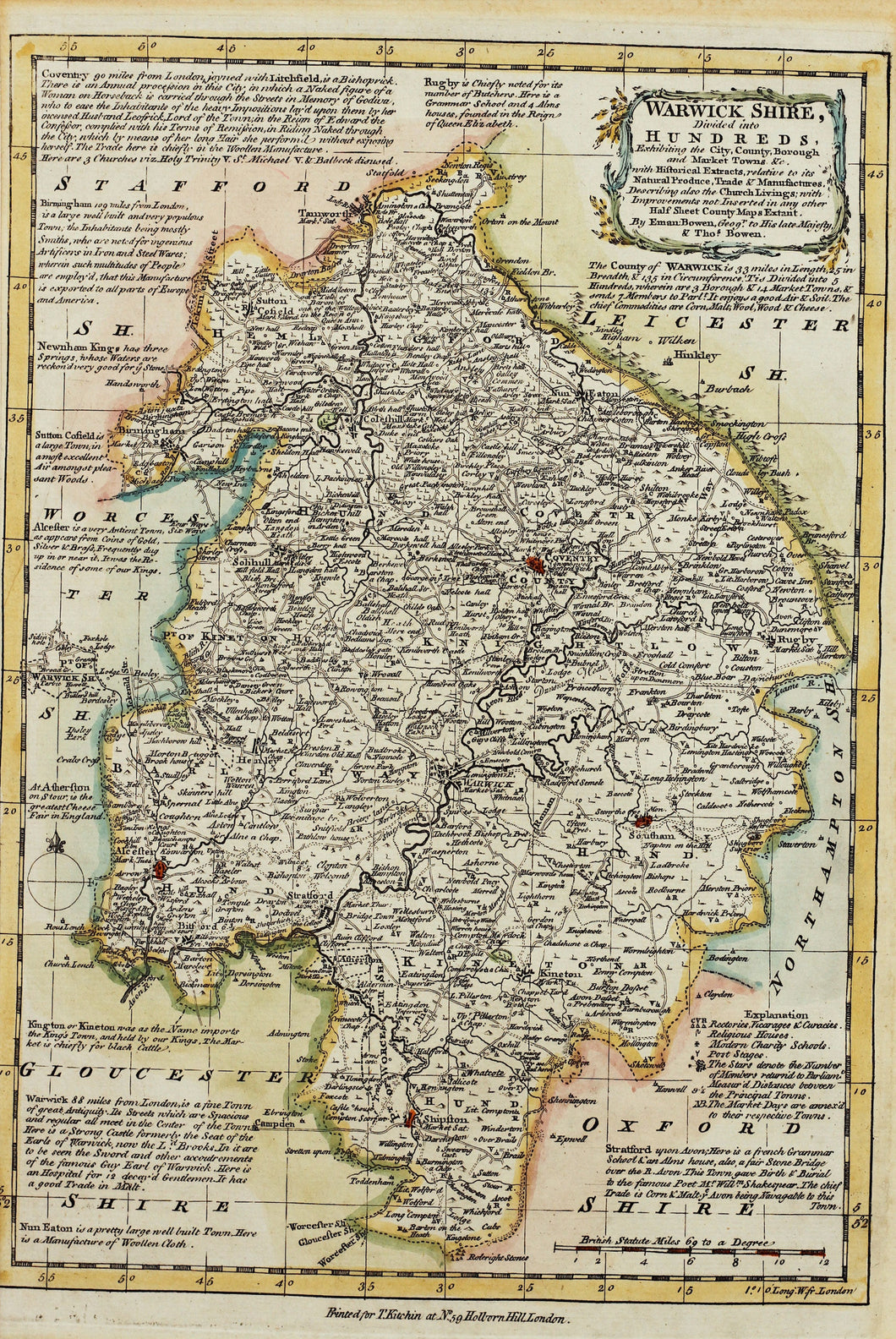 Warwickshire Divided into Hundreds - Antique Map by Bowen circa 1767