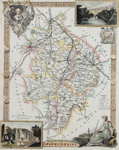 Warwickshire - Antique Map by Thomas Moule circa 1848