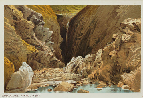 Waterfall Cave Plemont Jersey - Antique Chromolithograph circa 1880