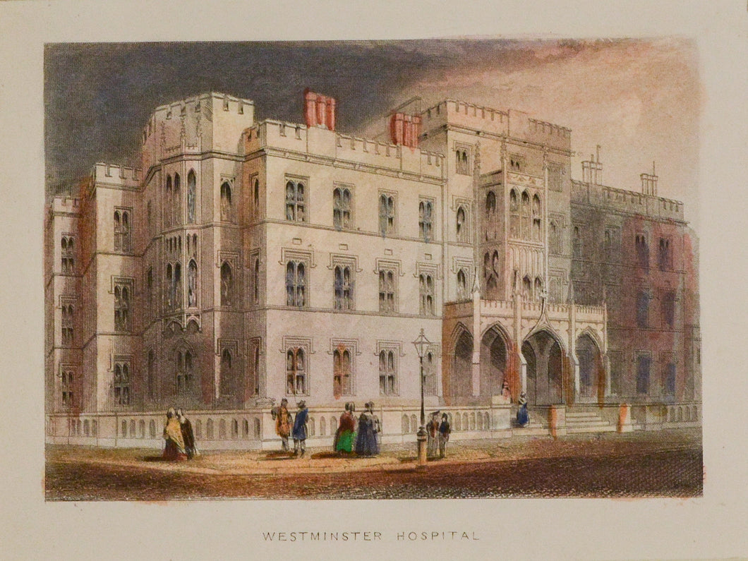Westminster Hospital - Antique Steel Engraving circa 1851