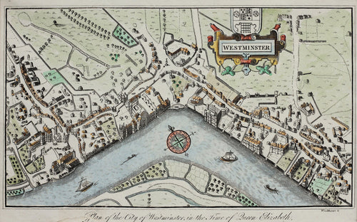 Westminster - Antique Map by Woodthorpe 1813