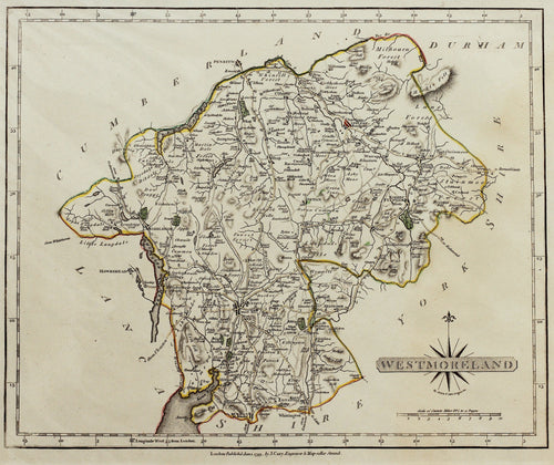 Westmoreland - Antique Map by J Cary 1793