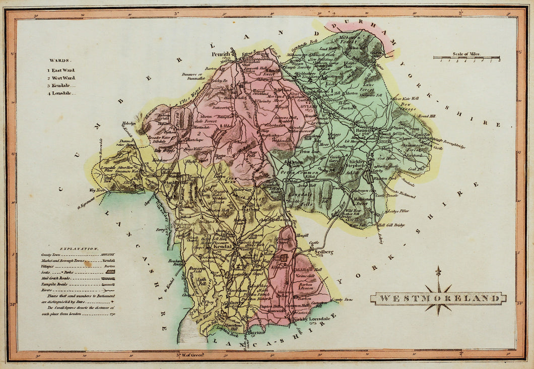 Westmoreland - Antique Map by J Wallis circa 1814
