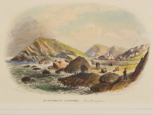 Wildersmouth Ilfracombe from Runnycleave - Antique Steel Engraving circa 1846