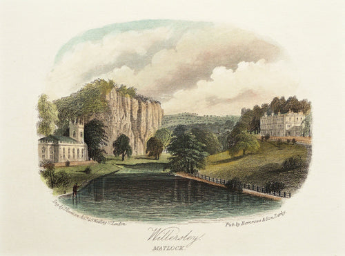 Willersley Hall Matlock - Antique Steel Engraving circa 1870