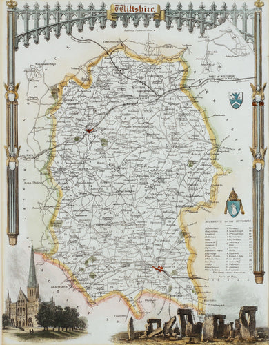 Wiltshire - Antique Map by Thomas Moule circa 1848