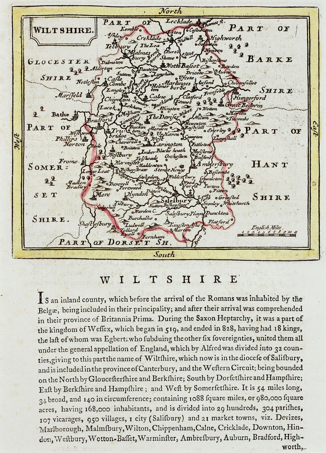 Wiltshire - Antique Map by Seller Grose circa 1787