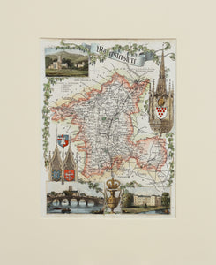 Worcestershire - Antique Map by Thomas Moule circa 1848