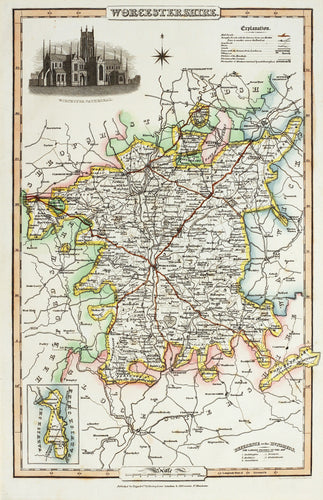Worcestershire - Antique Map by Pigot 1826-50
