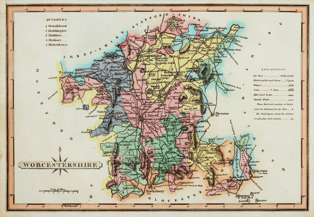 Worcestershire - Antique Map by J Wallis circa 1814