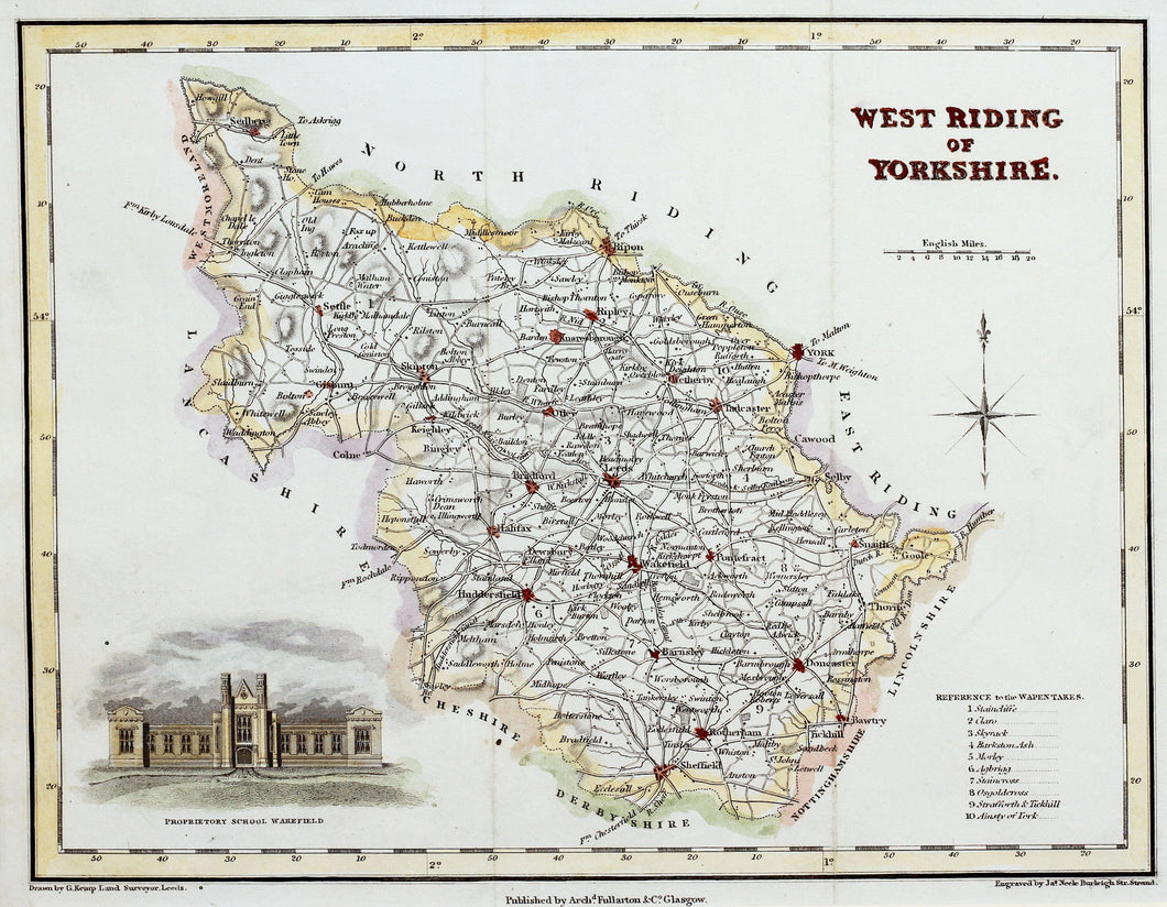 West Riding of Yorkshire - Antique Map by J Neele circa 1832