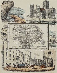 Yorkshire - Antique Map by R Ramble circa 1845