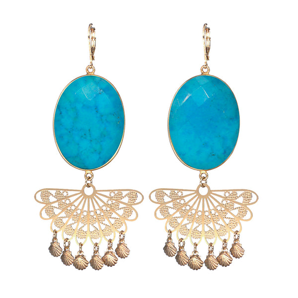 Boucles d'oreilles Tahiya - Or / Turquoise / Percée -