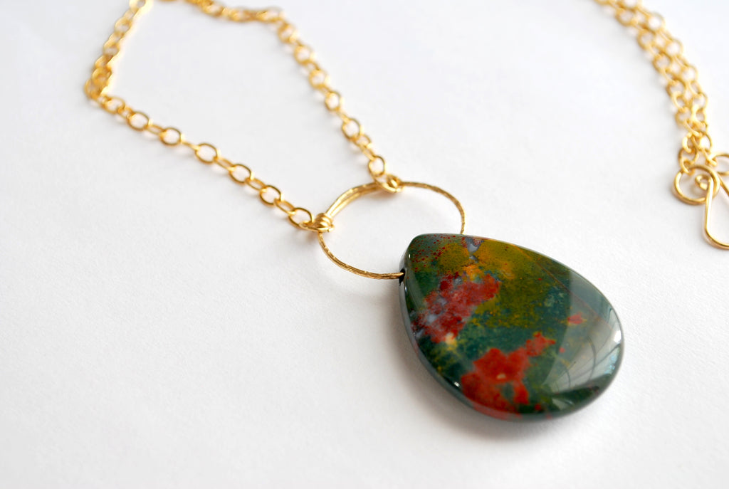 Moss Green, Red, and Yellow Fancy Jasper 14k Gold-filled Necklace designed by April FitzGerald of fox&toad jewelry