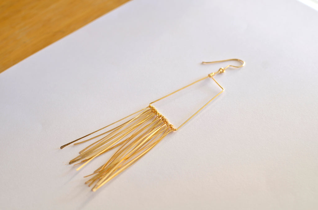 Gold-filled Boho Tassel Earrings designed by April FitzGerald of fox&toad jewelry