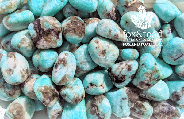 Amazonite with Smoky Quartz Tumbled Stones
