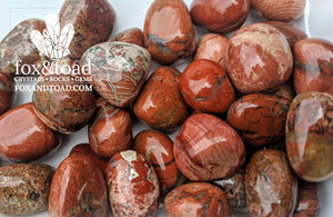 Jasper, Red Silver Leaf Tumbled Stones