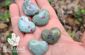 Pocket Heart — Fuchsite with Ruby