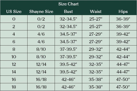 Shayne Size Chart Guide