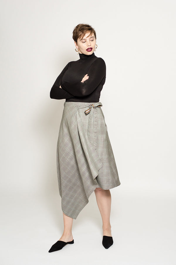 Wrap plaid wool skirt for plus size women