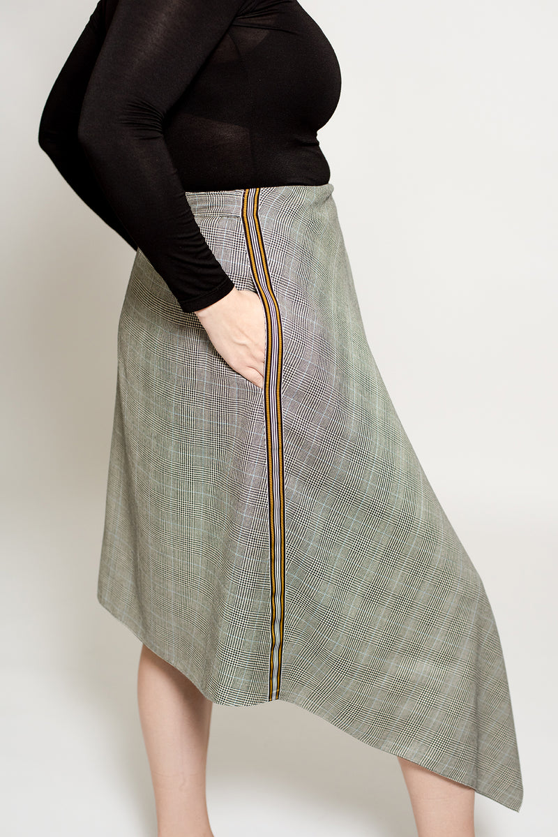 Wrap plaid wool skirt for work for plus size women up to size 18