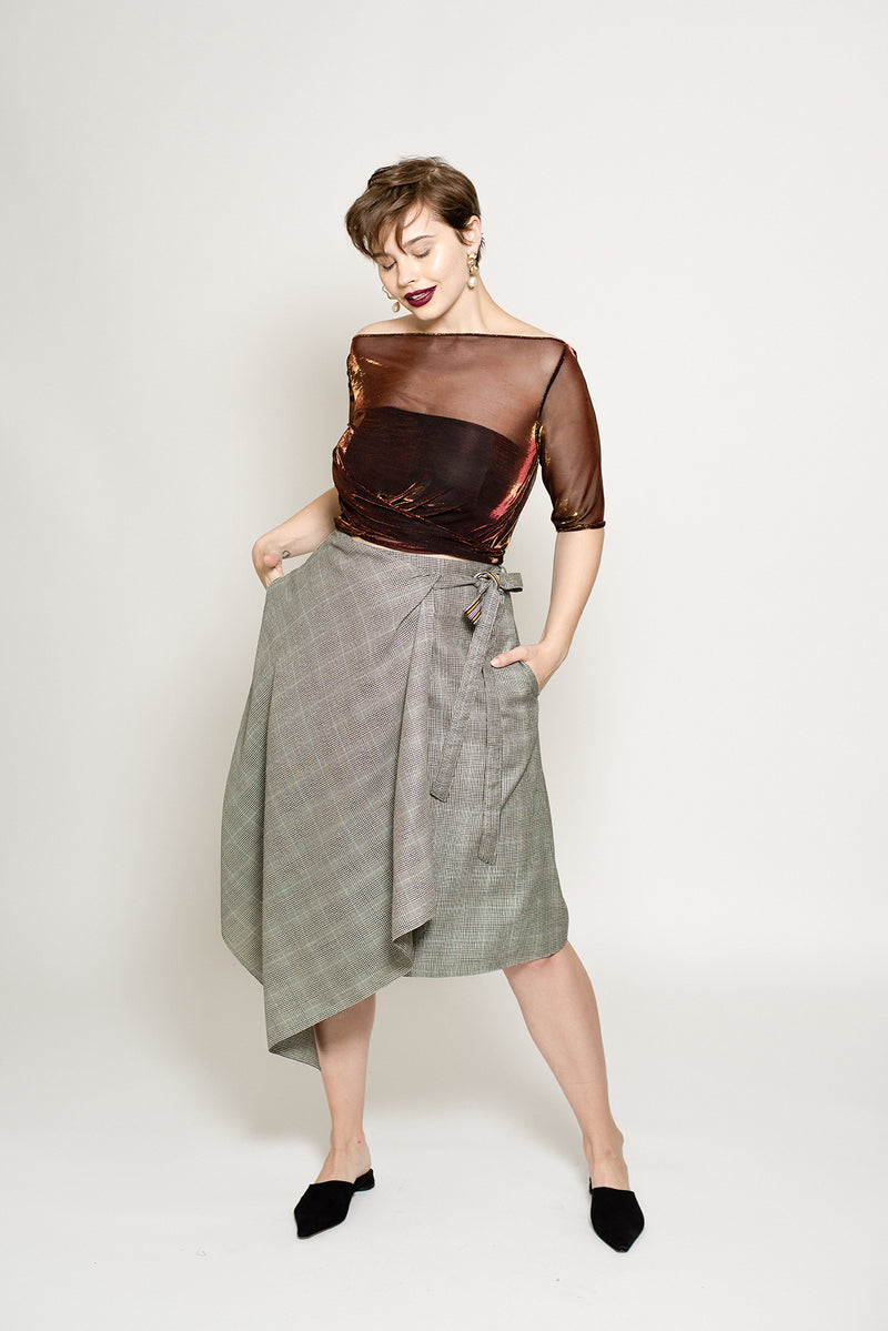 Three tone metallic sheer cropped holiday top with tie in the back