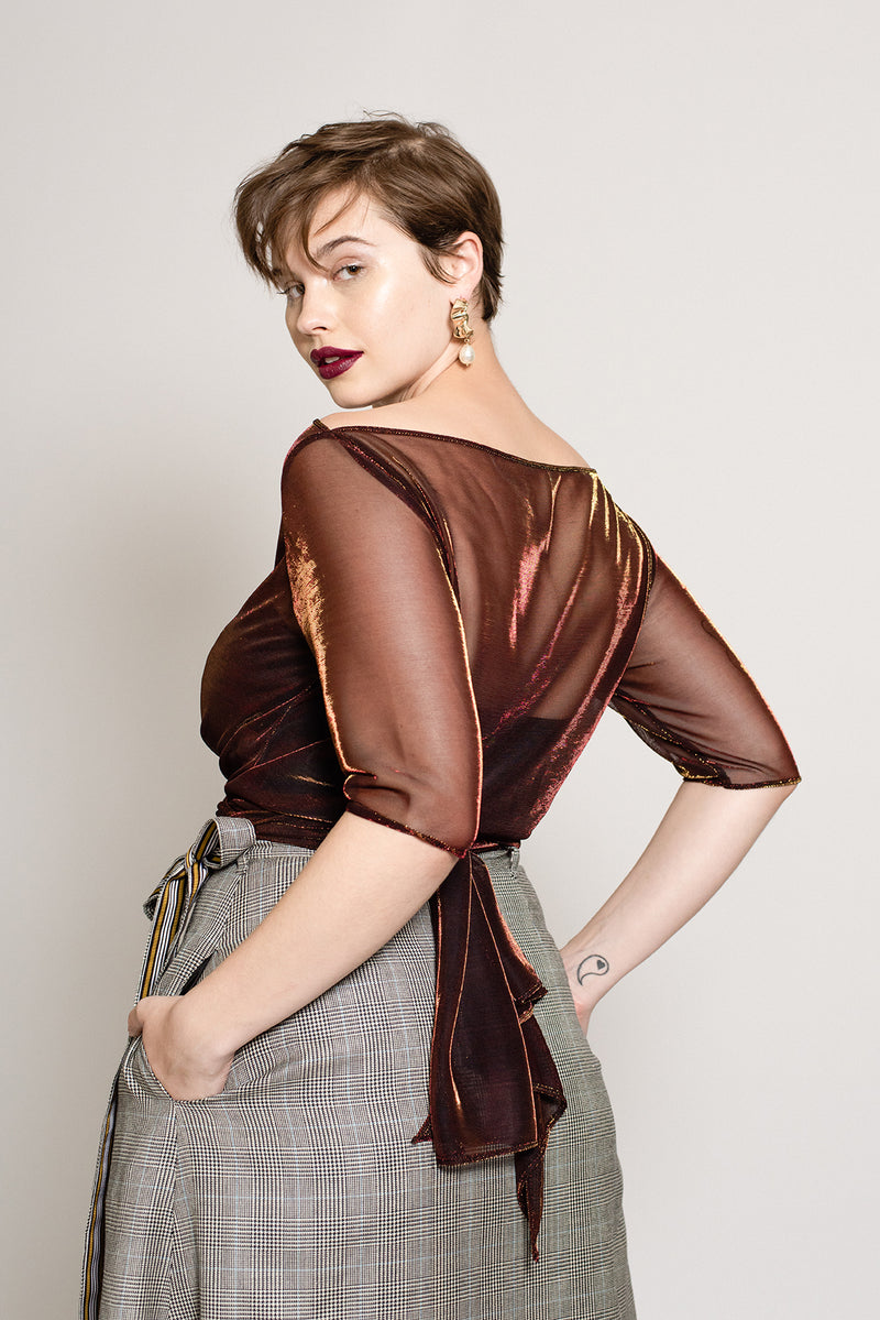 Holiday cropped sheer metallic top for plus size women
