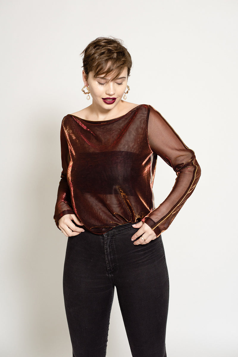 Sheer red metallic long sleeve shirt for plus size up to size 18