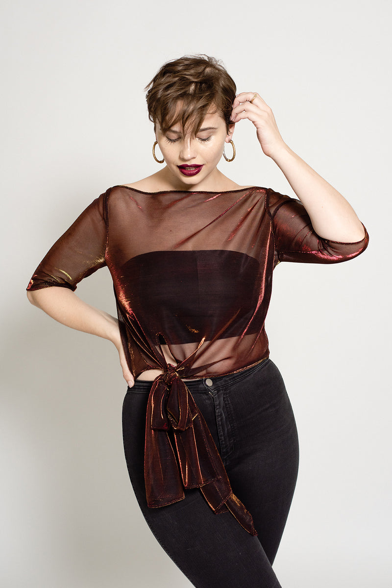 Red metallic plus size sheer top with three quarter length sleeves