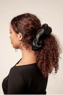Shayne jumbo 100% silk scrunchie in black.