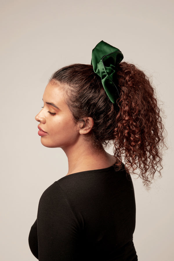 Shayne oversized silk scrunchie in olive green. Great for all hair types.