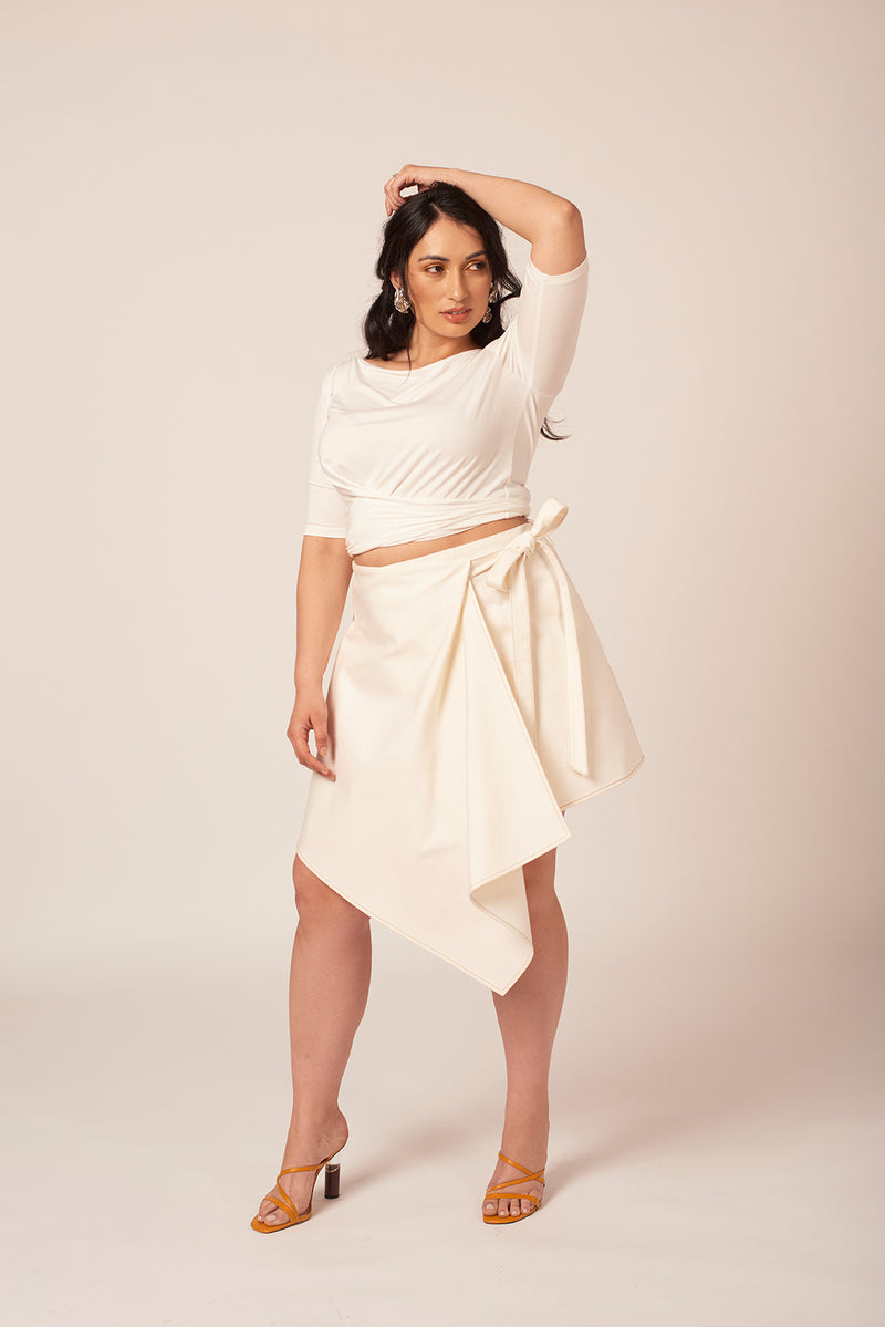 Plus size white denim wrap skirt