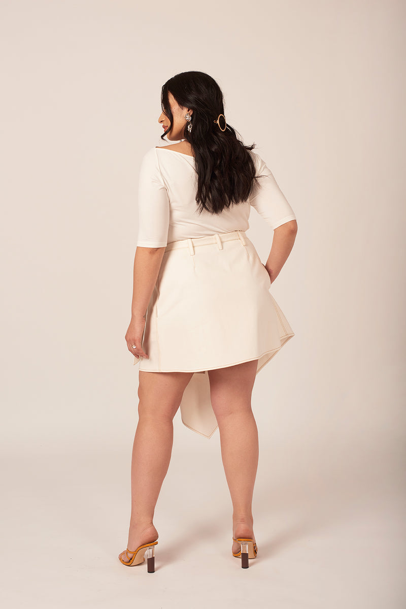 White denim asymmetrical skirt for plus size women