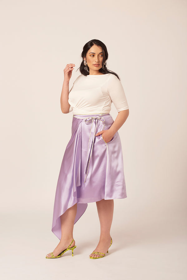 Luxe purple silk skirt with neon yellow trim. Available for plus size women up to size 18